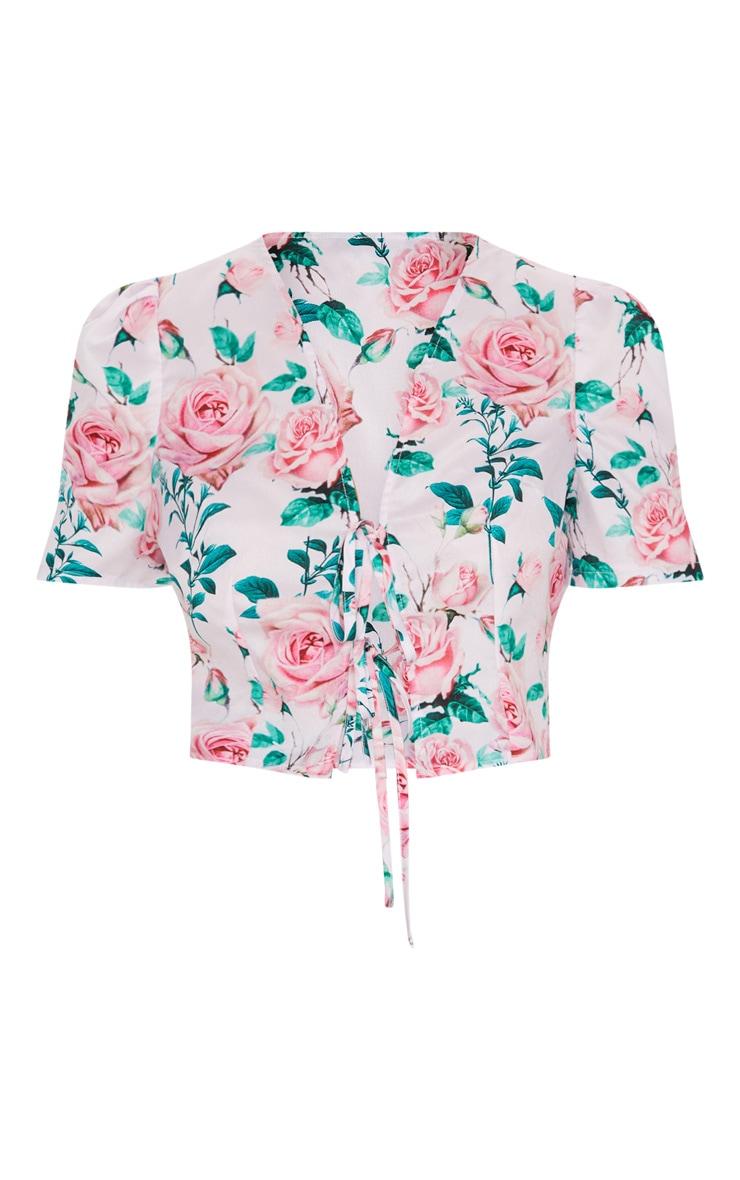 Pink Floral Printed Tie Front Short Sleeve Crop Top 3