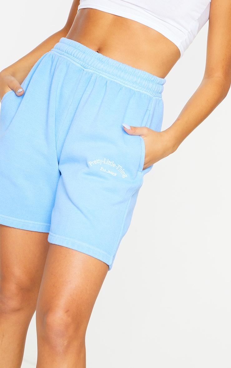 PRETTYLITTLETHING Blue Washed Sweat Shorts 5
