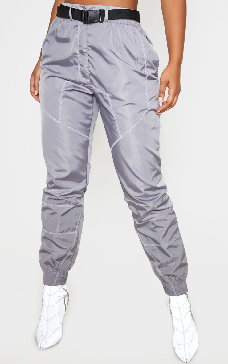 Grey Contrast Stitch Belted Shell Jogger 2