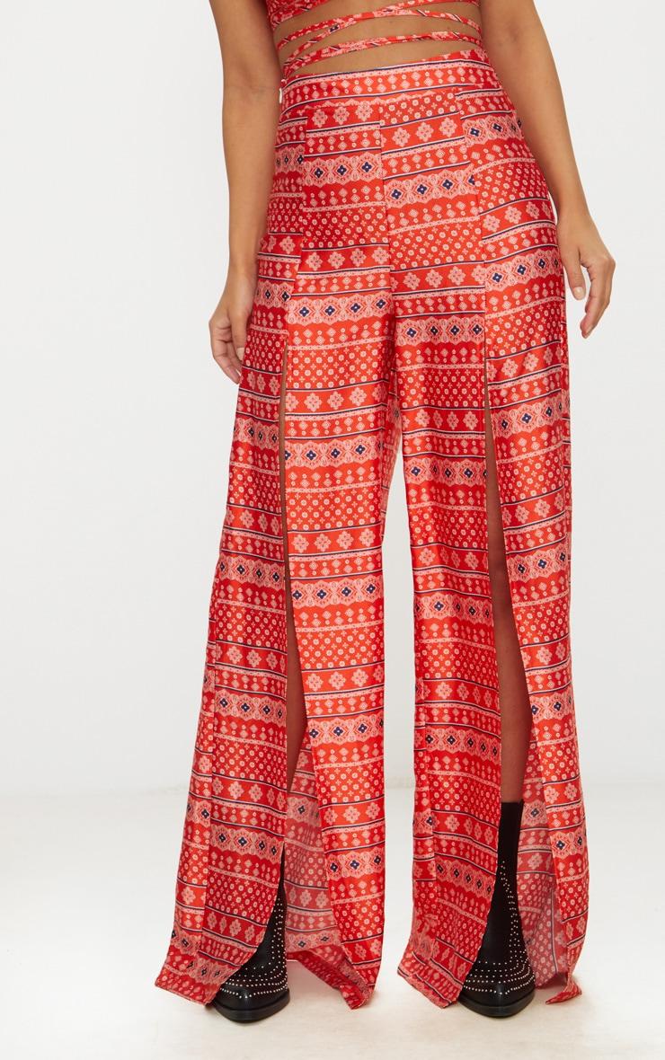 Petite Orange Paisley Printed Wide Leg Trousers 2