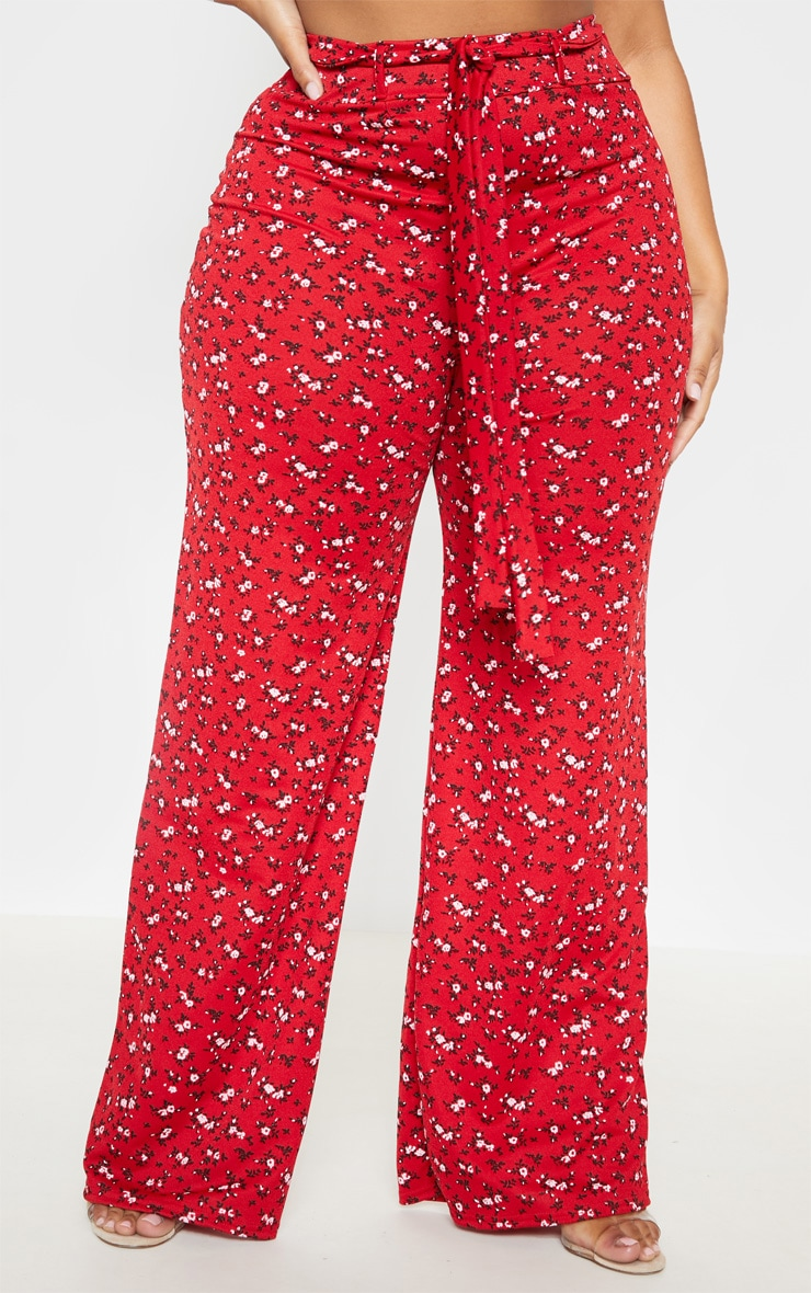 Plus Red Ditsy Floral Tie Waist Wide Leg Pants 2