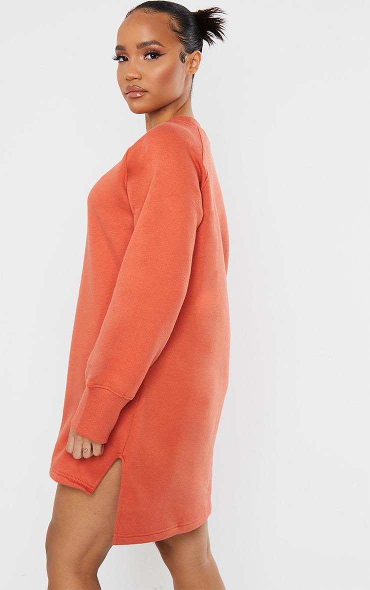 PRETTYLITTLETHING Washed Red Slogan Dip Hem Sweat Sweater Dress 2