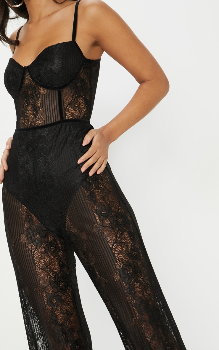 Black Lace Sheer Velvet Piped Jumpsuit 5