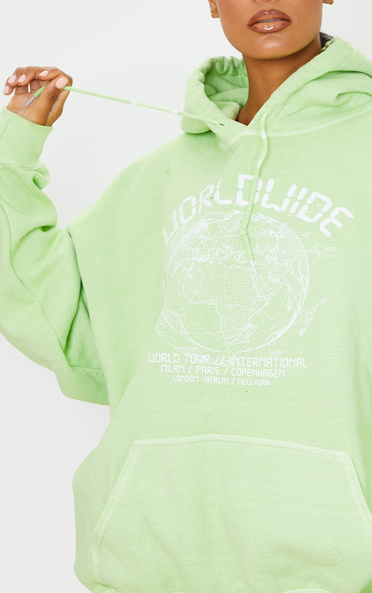 Lime Worldwide Slogan Oversized Hoodie 4