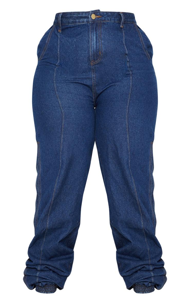 Plus Mid Wash Denim Elasticated Hem Jeans 3