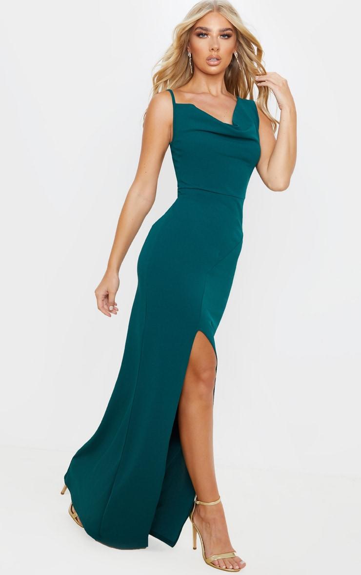 Emerald Green Asymmetric Cowl Neck Maxi Dress 1