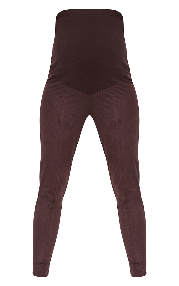 Maternity Chocolate Over Bump Faux Suede Leggings 5