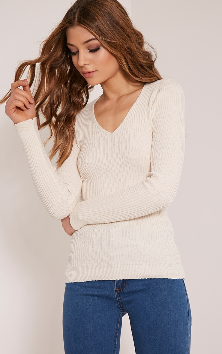 Skylah Cream Ribbed V Neck Jumper 4