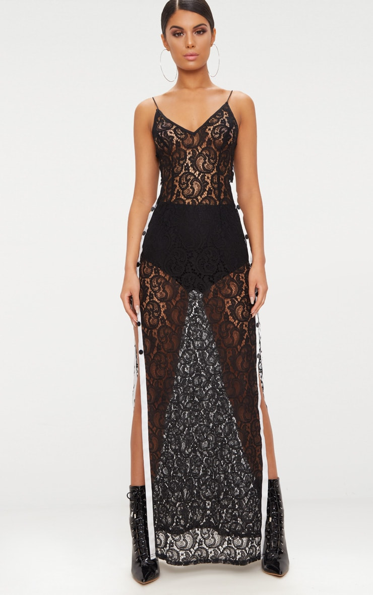 Black Strappy Sheer Lace Popper Side Maxi Dress 1
