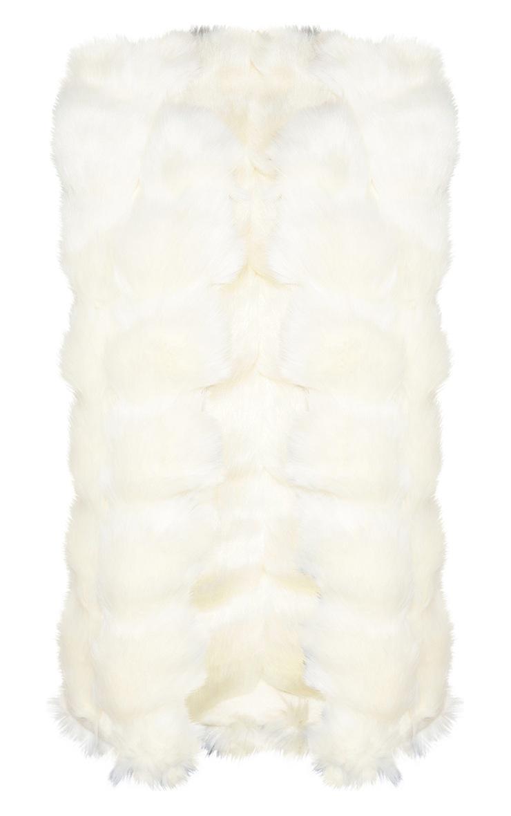 Cream Faux Fur Longline Gilet 4