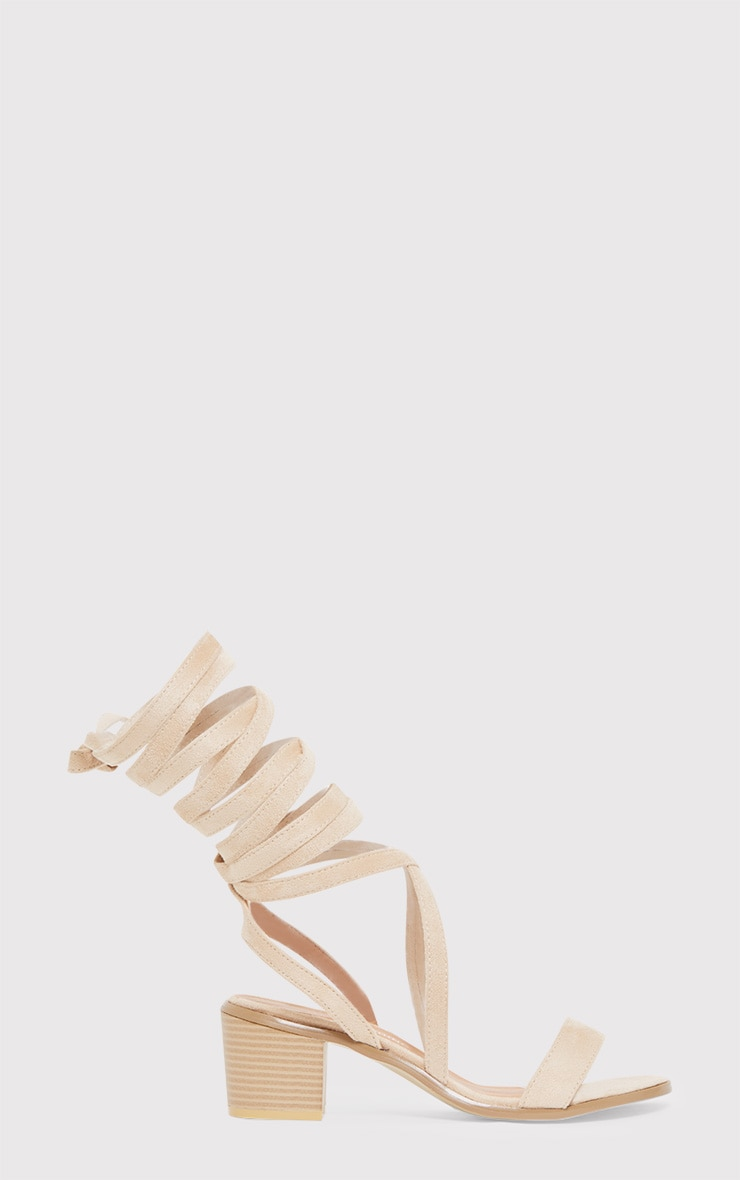 Kallia Cream Suede Lace Up Heeled Sandals 2