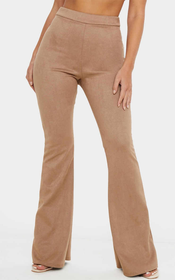 Stone Faux Suede Flare Trouser 2