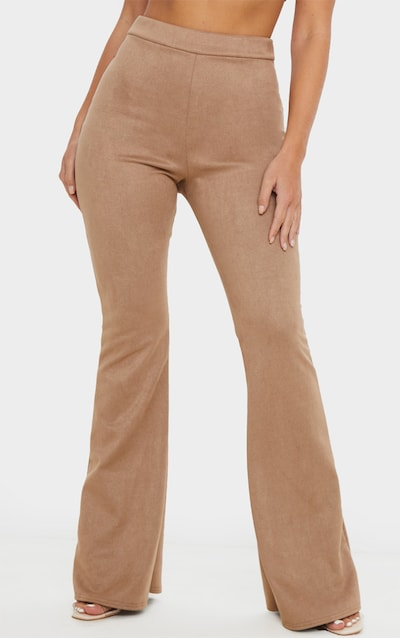 Stone Faux Suede Flare Trouser