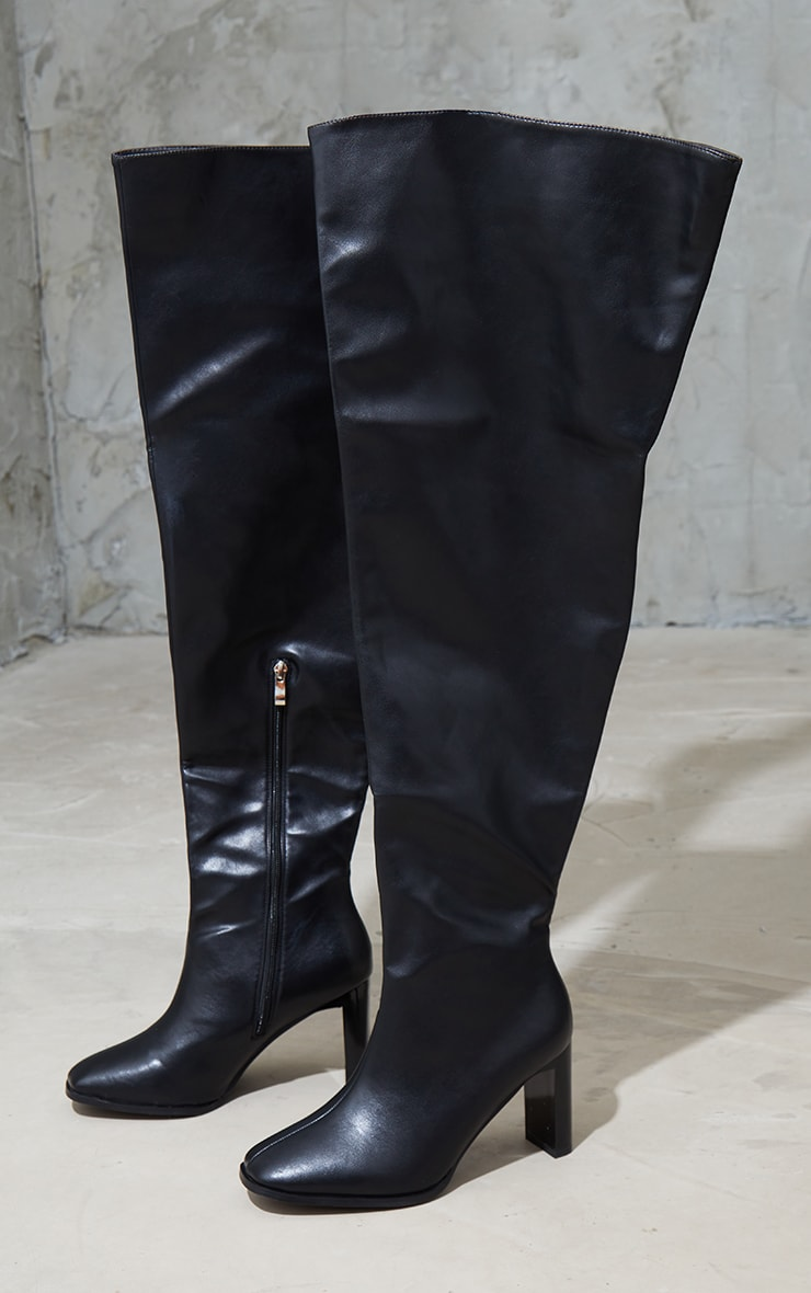 Black Wide Fit High Flat Block Heel Over The Knee Boot 3