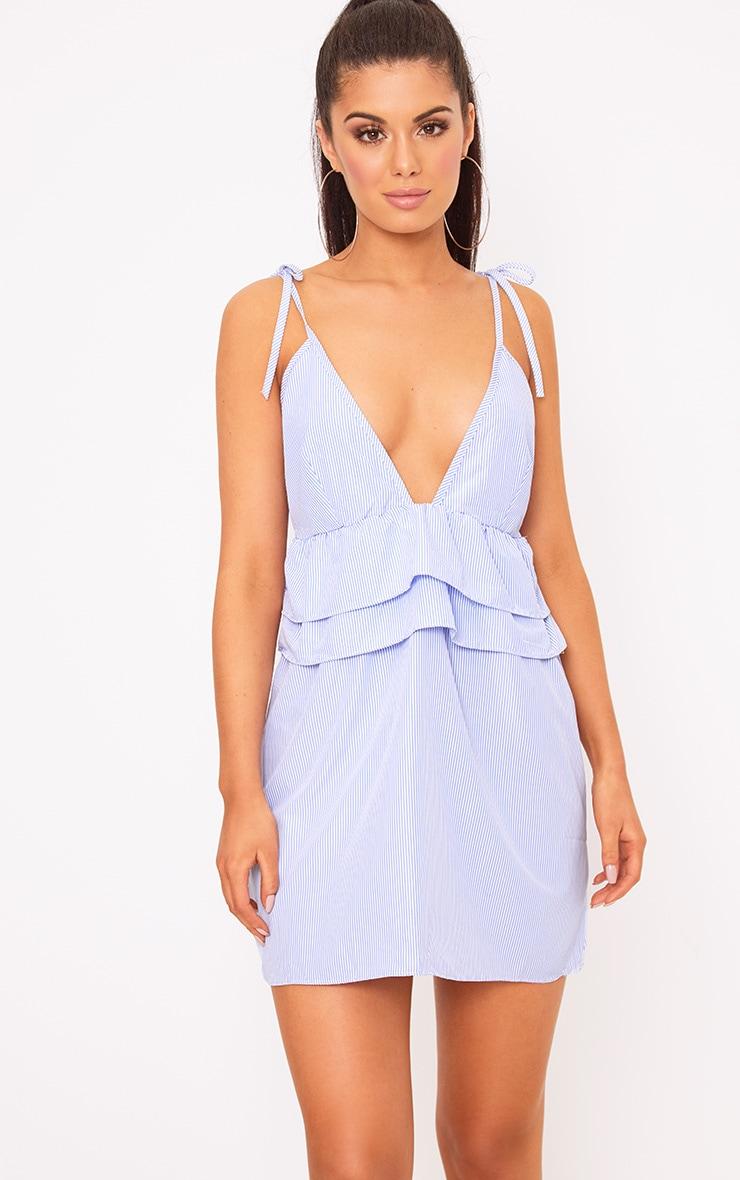 Blue Pinstripe Peplum Frill Detail Shift Dress 1