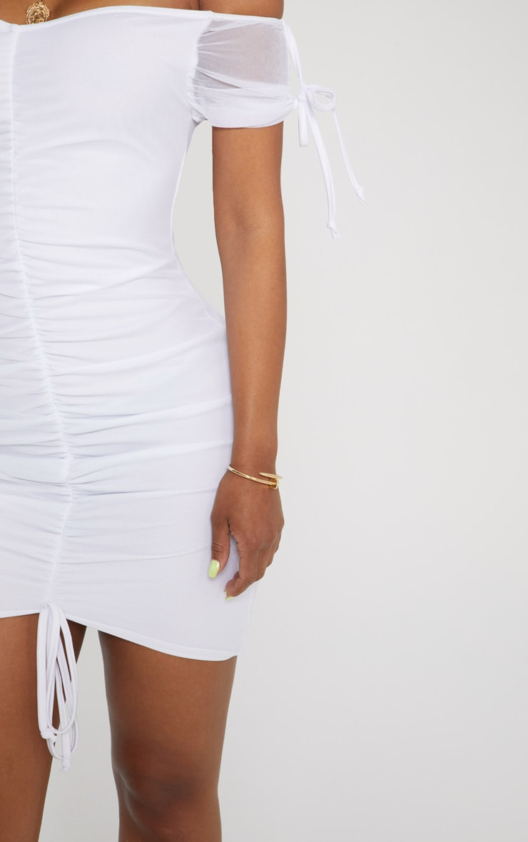 Shape White Ruched Mesh Bardot Bodycon Dress 5