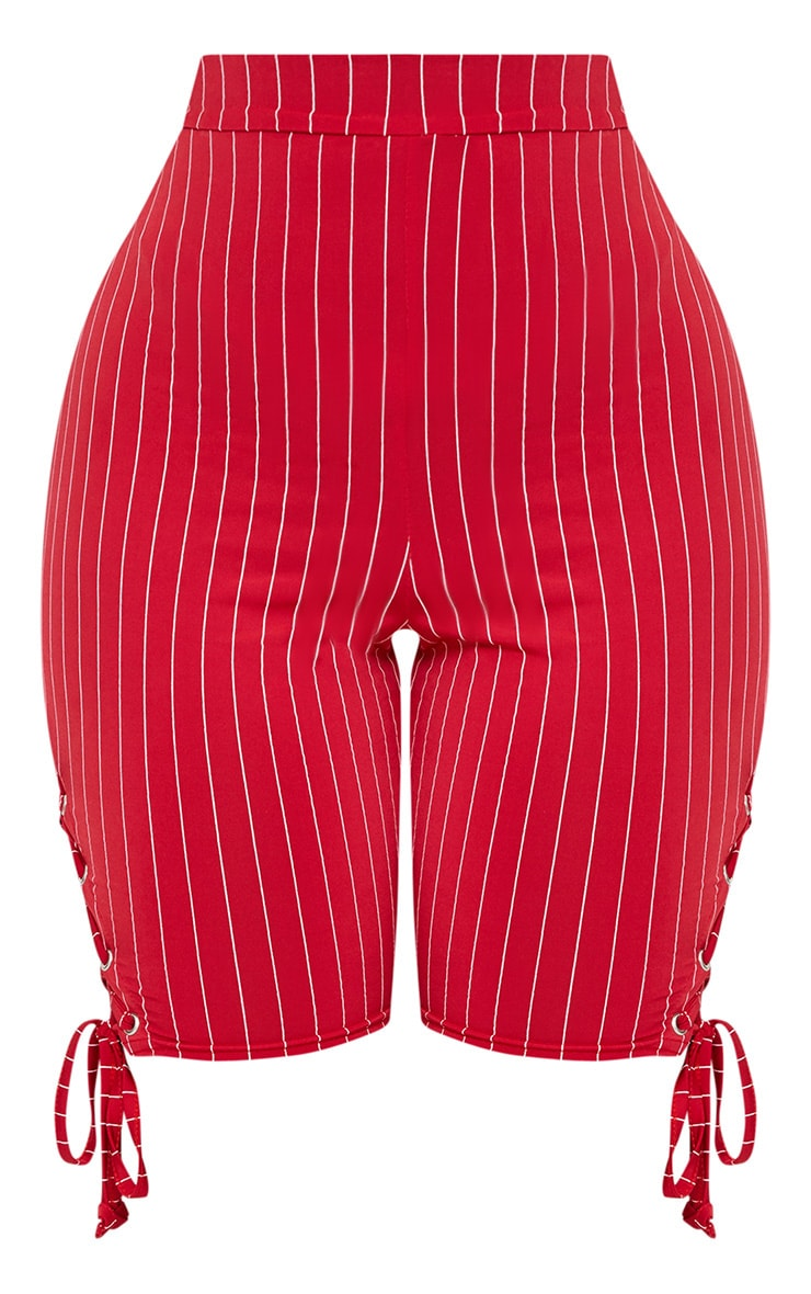 Shape Red Slinky Pinstripe Eyelet Detail Cycling Shorts 3