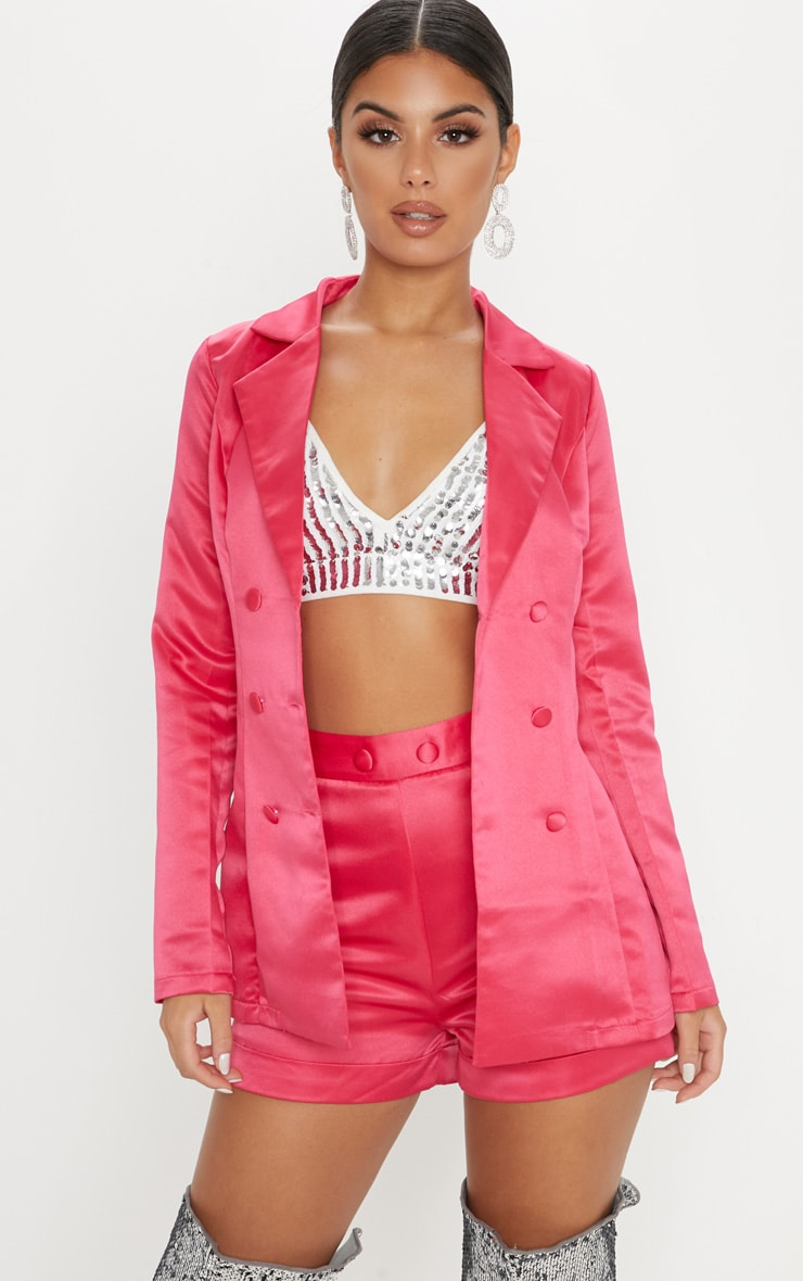 Hot Pink Satin Suit Shorts 5