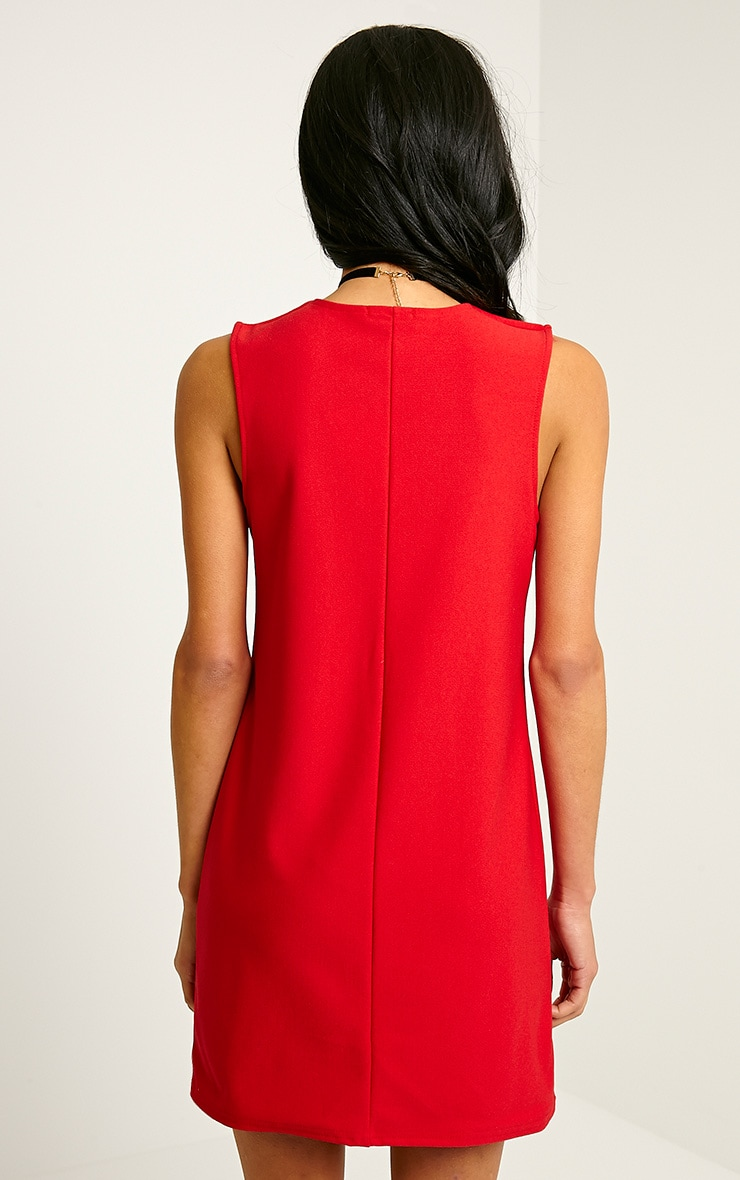 Ronnie Red Deep V Plunge Loose Fit Crepe Dress 2