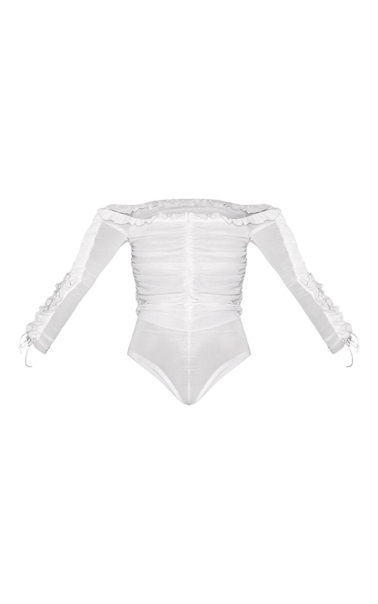 White Mesh Frill Top Edge Bardot Bodysuit 6