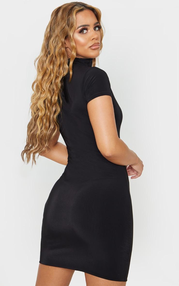 Petite Black Zip Detail Short Sleeve Slinky Mini Dress  2