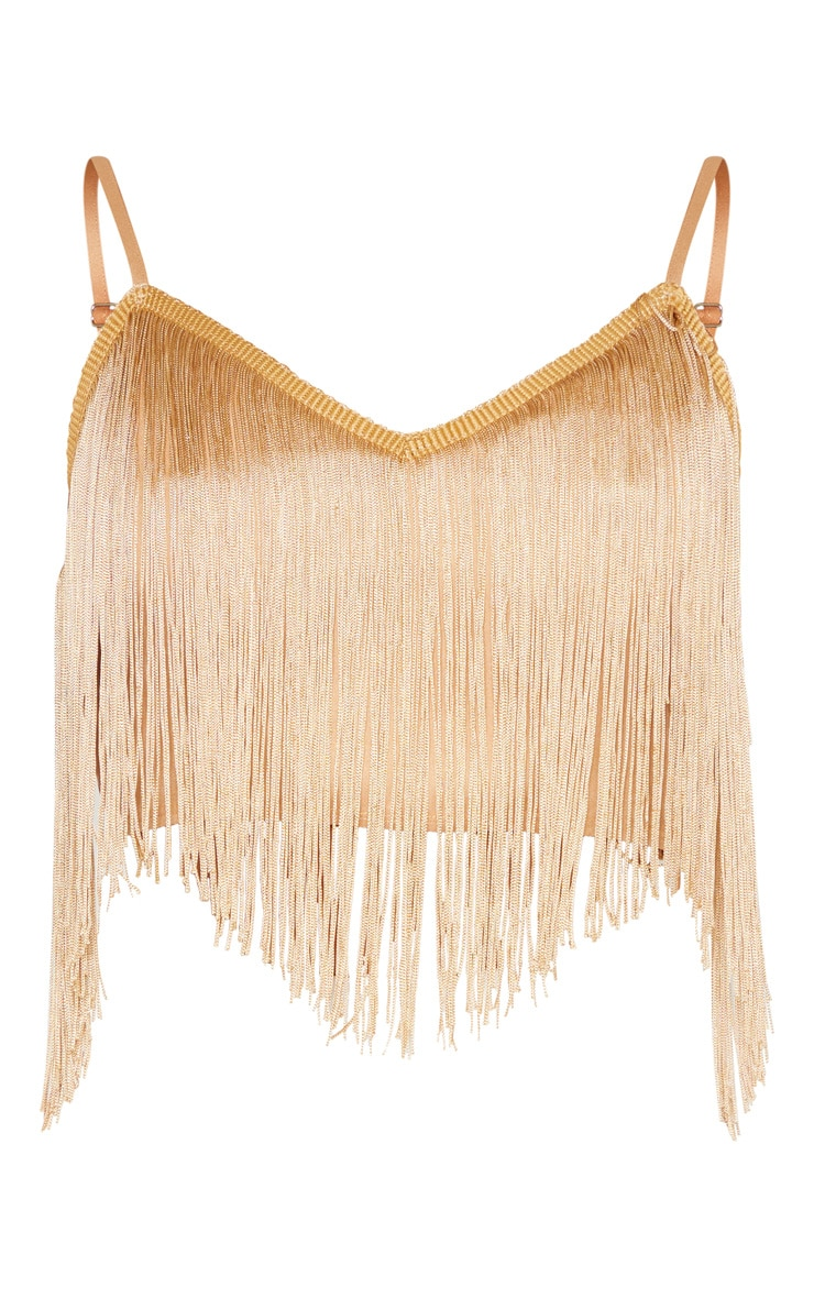 Gold Tassel Trim Sleeveless Crop Top 3