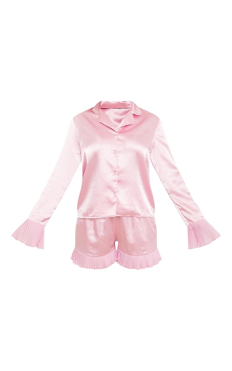 Pink Pleated Frill Hem Detail Satin Shorts PJ Set 5