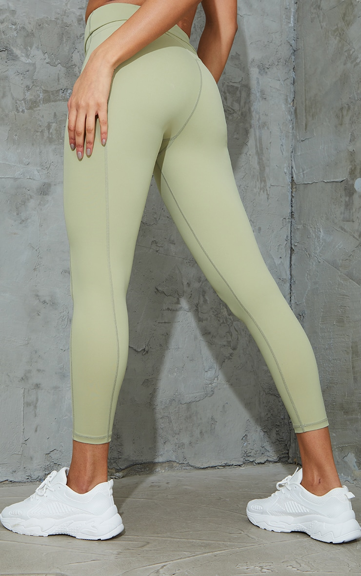 Green Super High Waist Pocket Detail Gym Leggings 3