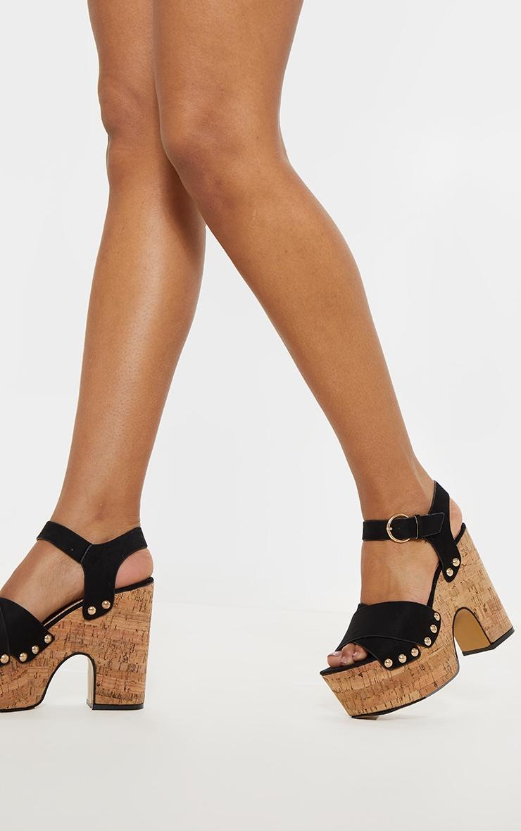 Black Cork Studded Platform Sandal 2