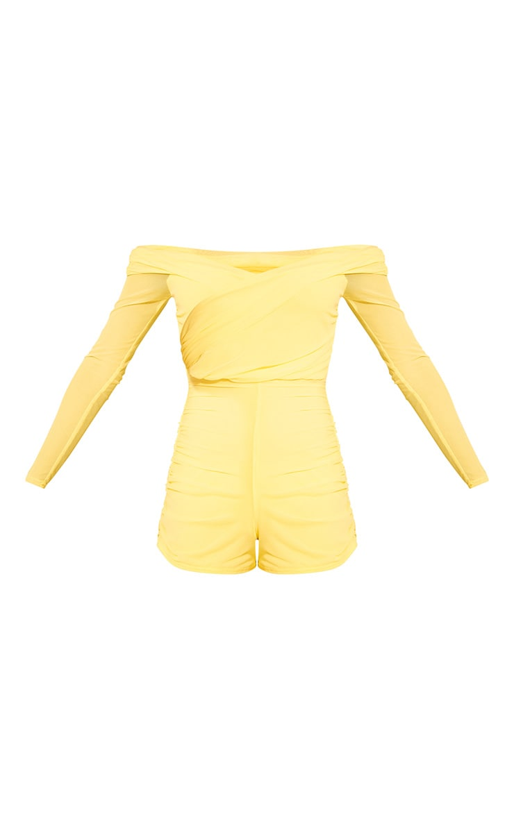 Lemon Mesh Ruched Bardot Romper 3