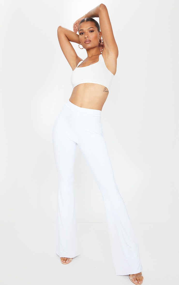 White Slinky Flared Pants 1