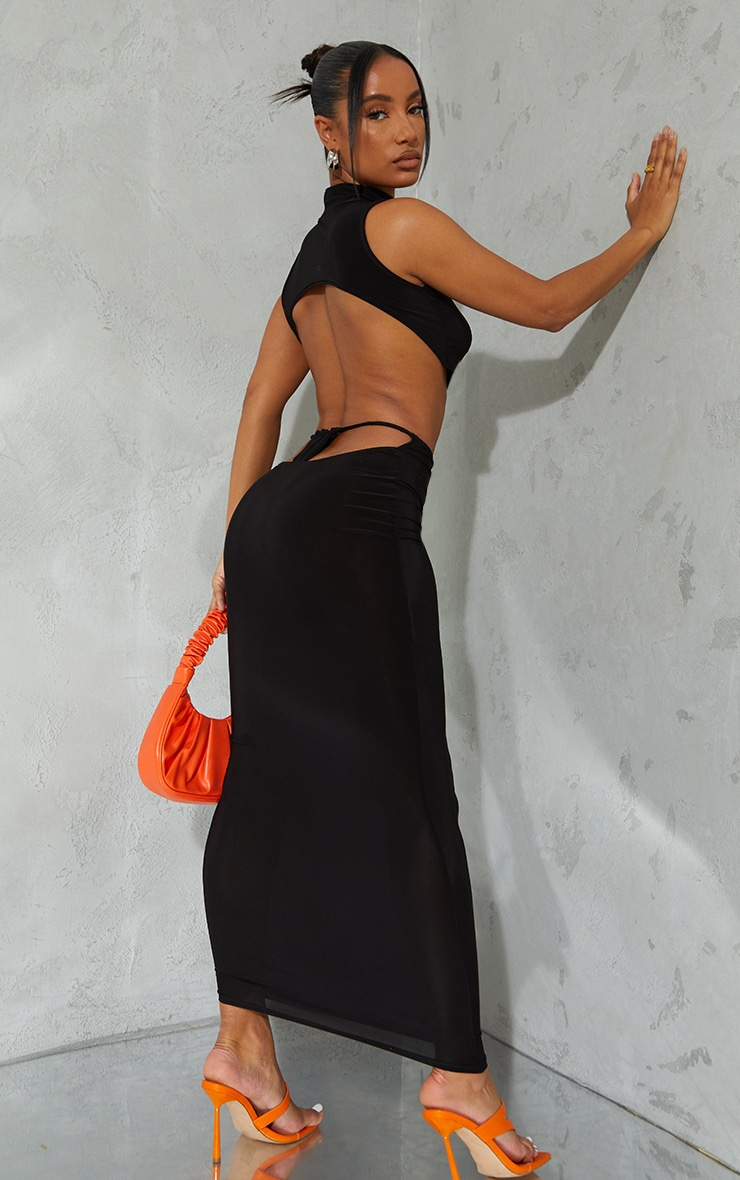 Black Slinky Thong Bum Detail Midaxi Skirt 1