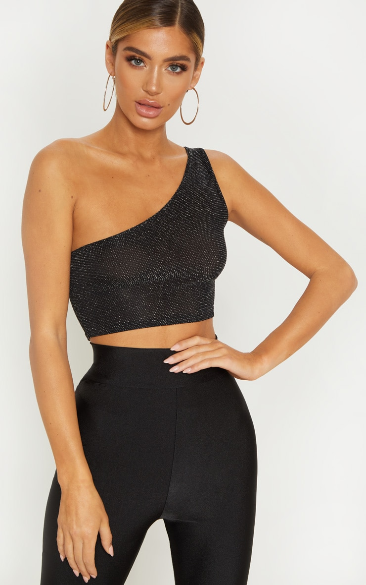 Black Glitter One Shoulder Crop Top 1