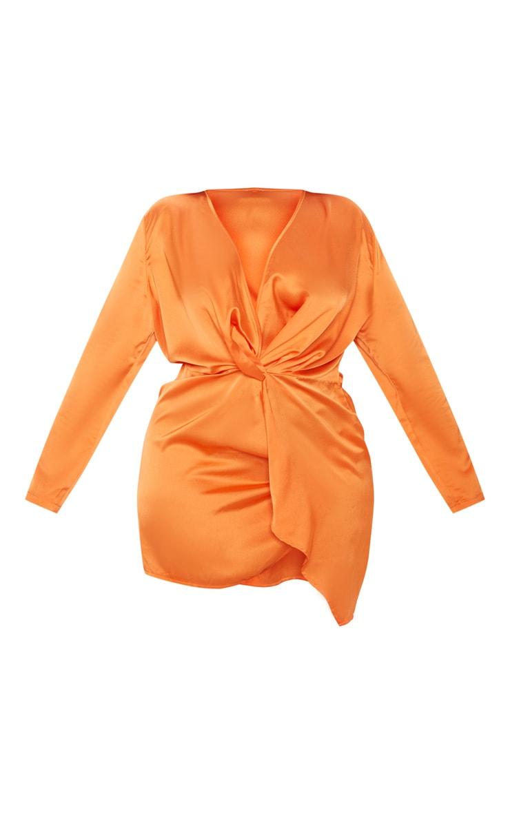 Plus Orange Satin Long Sleeve Wrap Dress 3