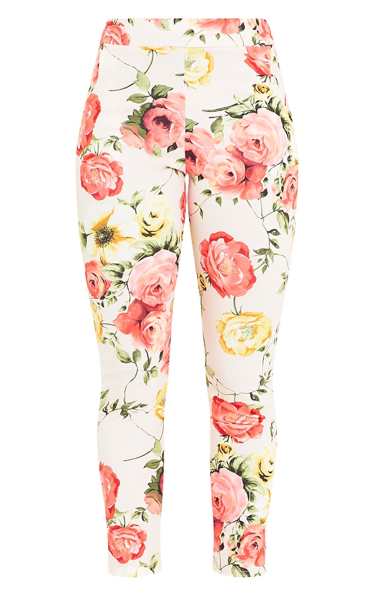Sage Stone Floral Print Trousers 3