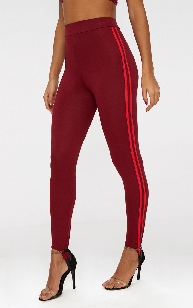 Burgundy Track Stripe Stirrup Leggings 2