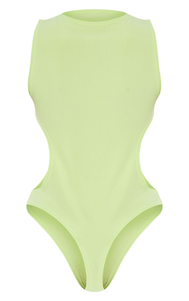 Lime Slinky Front Cut Out Racer Bodysuit 6