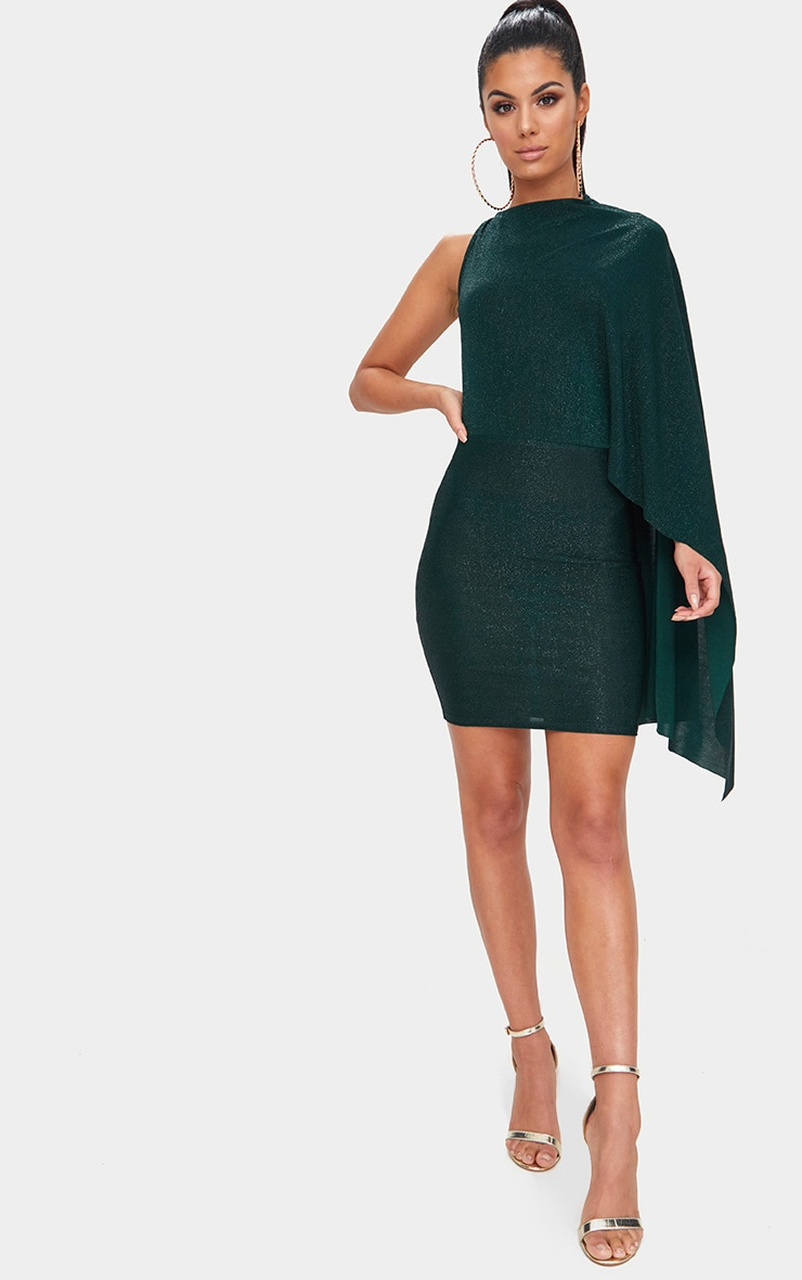 Green Glitter Cape Detail Bodycon Dress 4