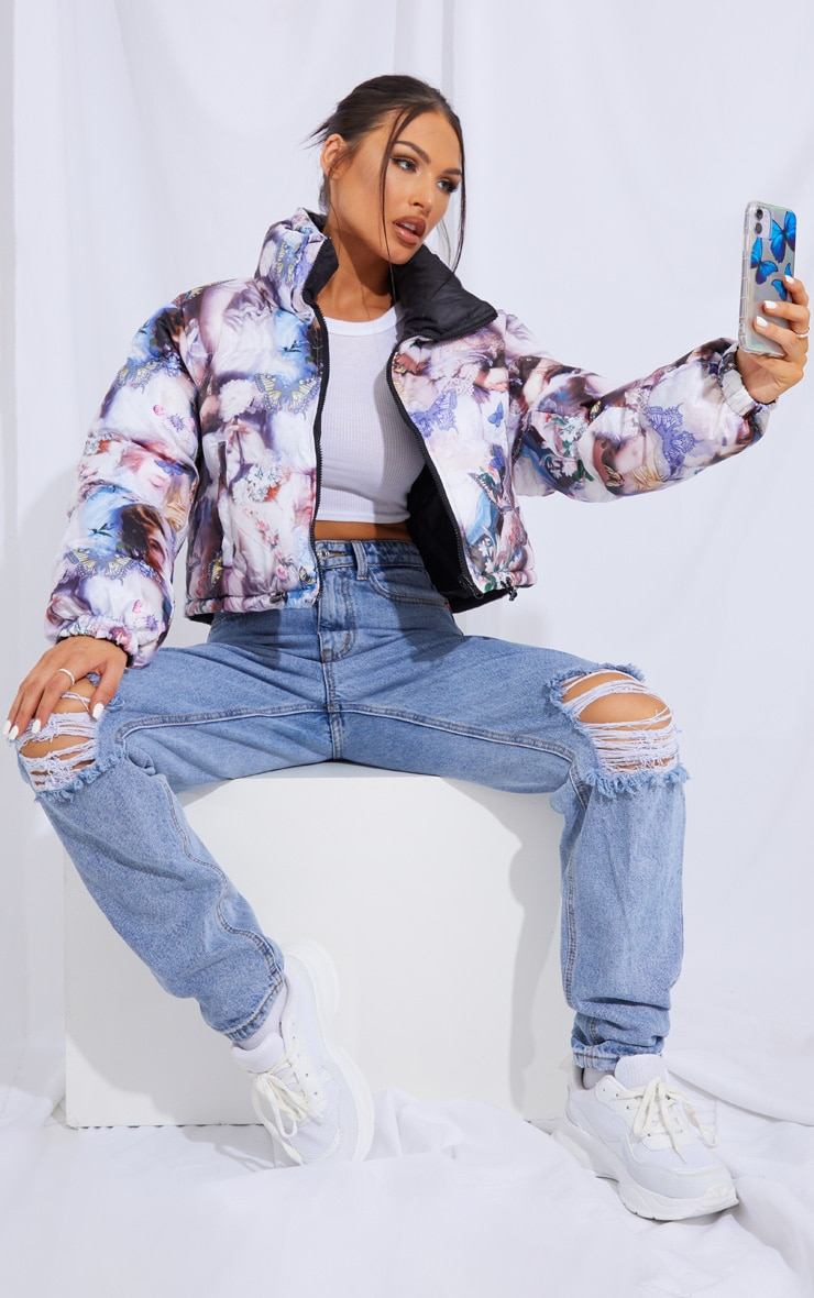 Blue Butterfly Print Reversible Zip Up Puffer Jacket 3