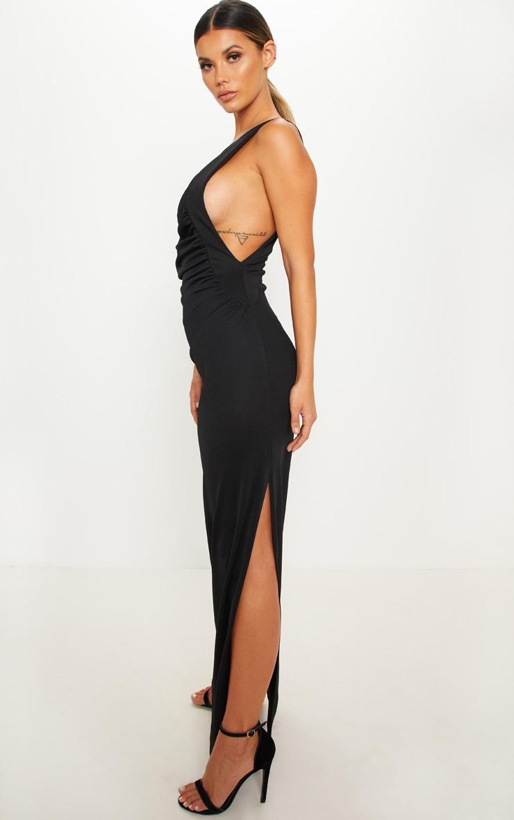 Black One Shoulder Ruched Maxi Dress Prettylittlething Usa