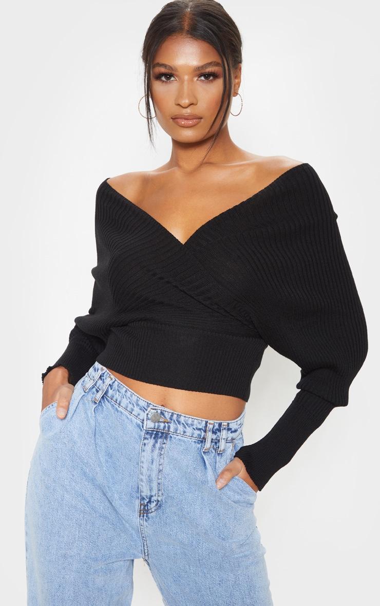 Black Wrap Off The Shoulder Sweater 1
