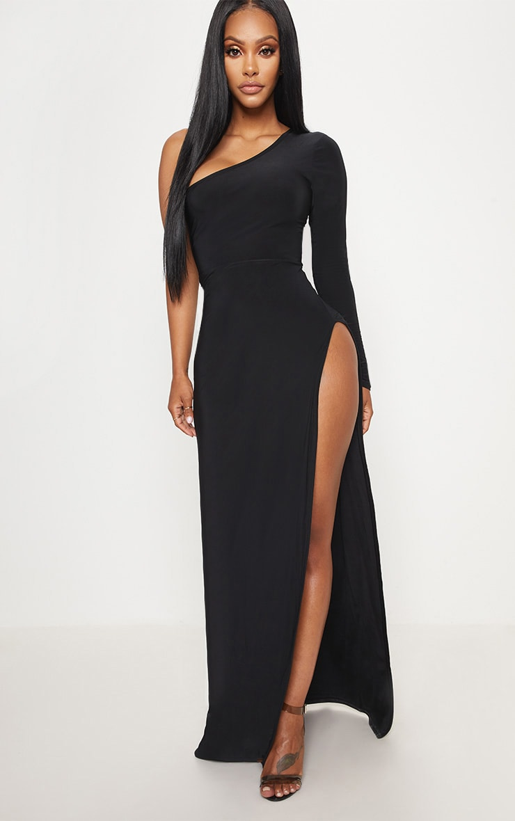 923cf607f08 Shape - Robe longue moulante fendue sur le côté à manche unique noire image  1