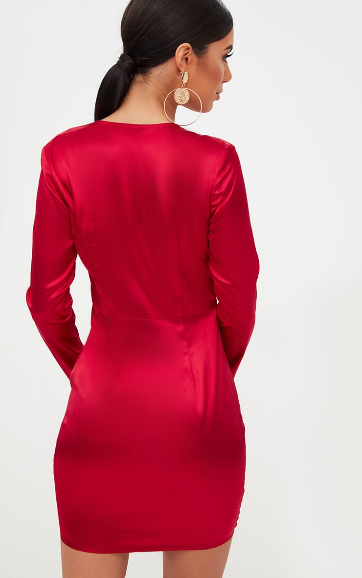 Red Satin Plunge Ruched Front Bodycon Dress 2