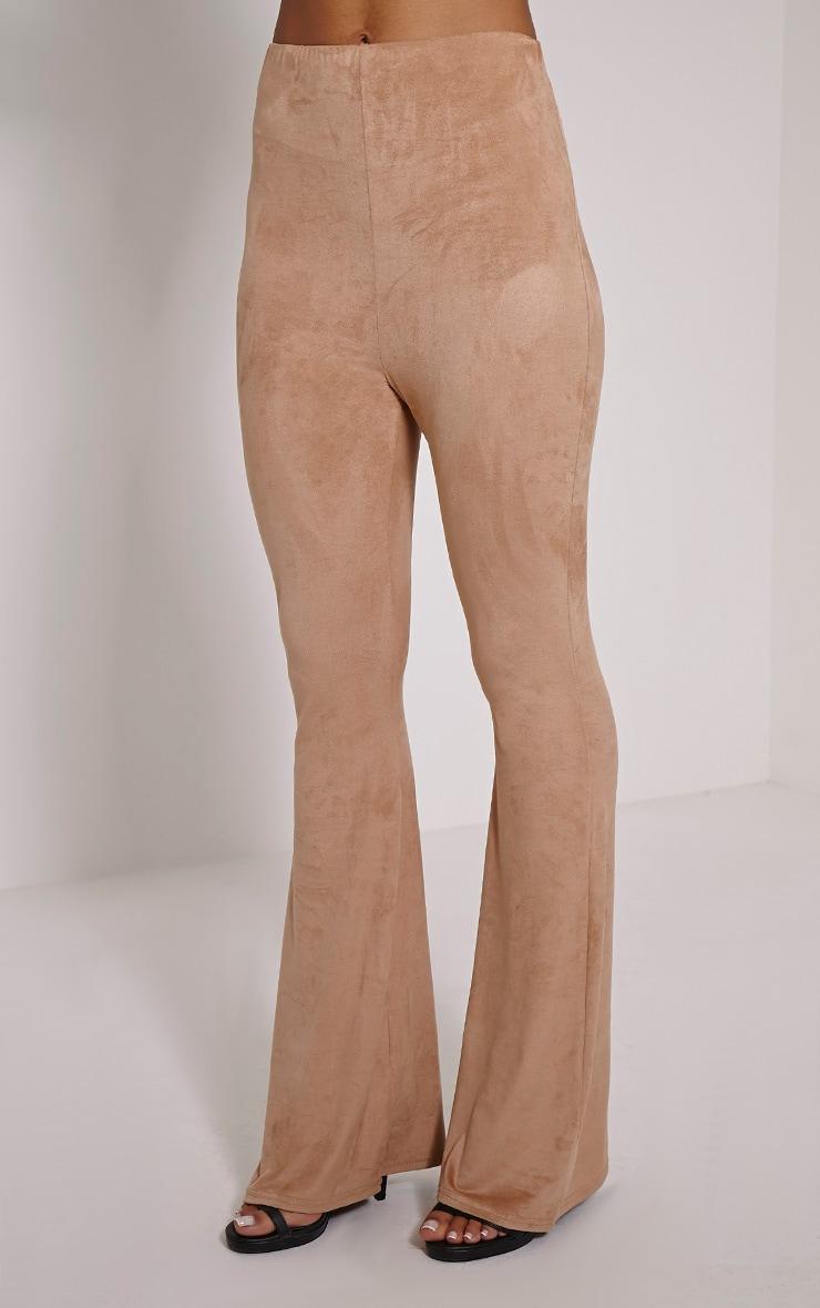 Sloan Dark Tan Faux Suede Flared Trousers 3