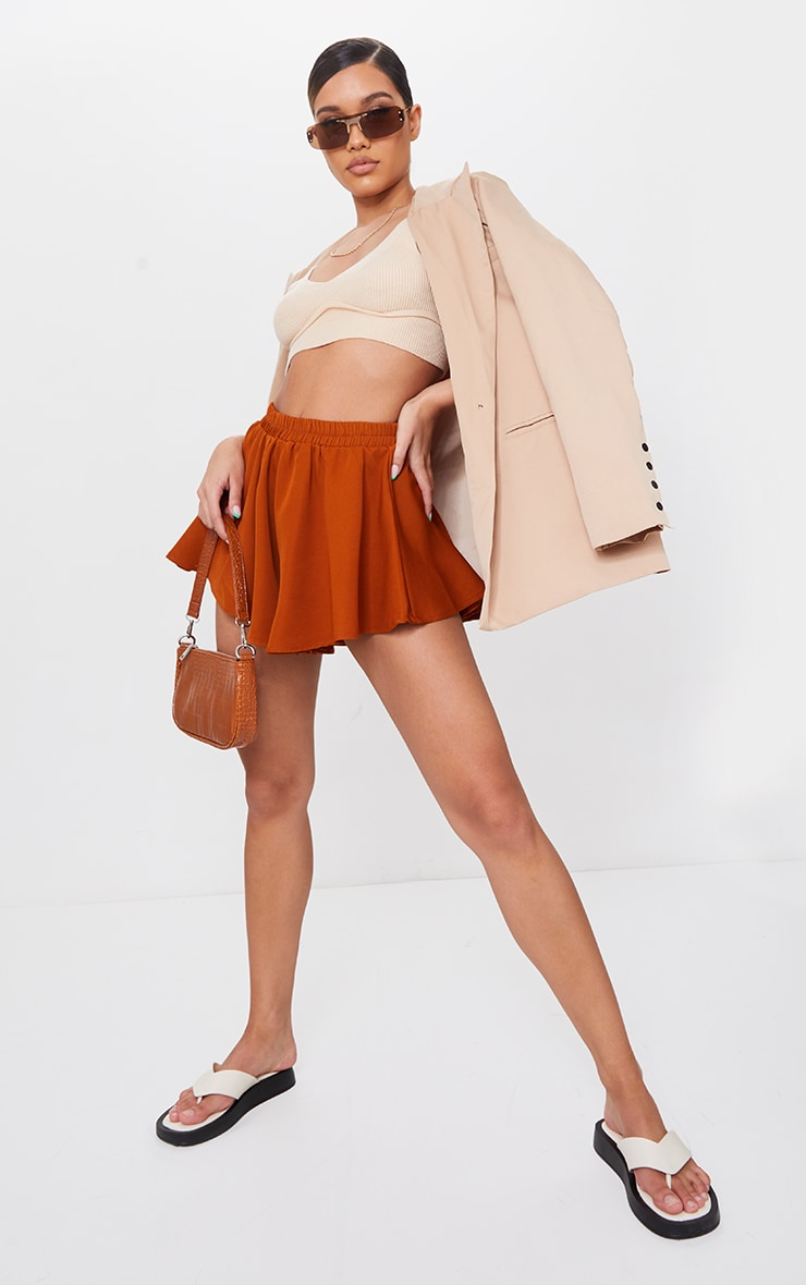Rust High Waisted Floaty Shorts 4