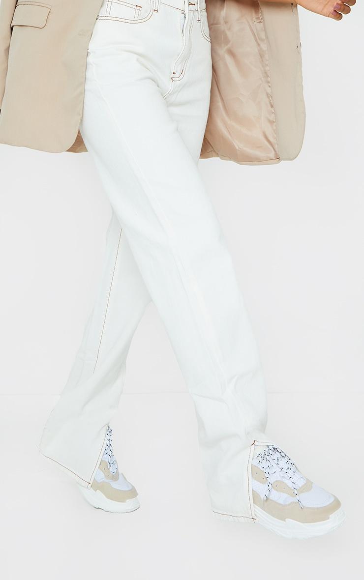 Ecru Contrast Stitch Split Hem Straight Leg Jeans 4
