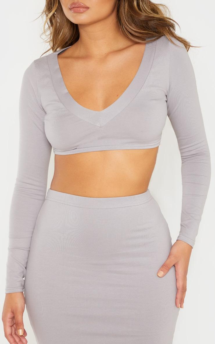 Dove Grey Cotton V Neck Long Sleeve Top 4