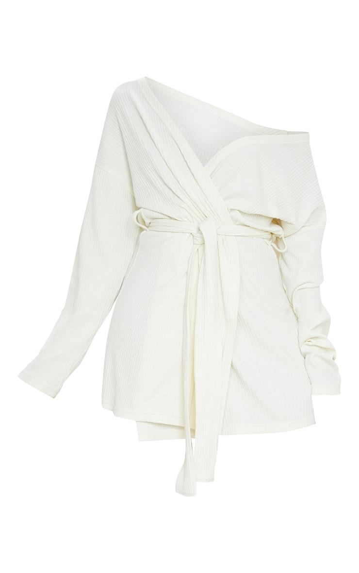 Cream Heavy Rib Long Sleeve Wrap Front Shift Dress 6
