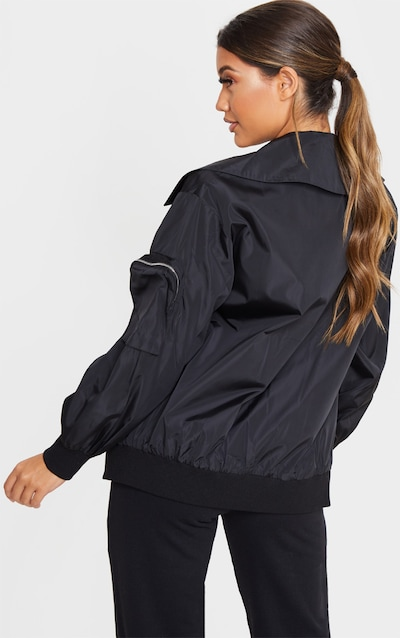 Black Collar Zip Up Longline Bomber