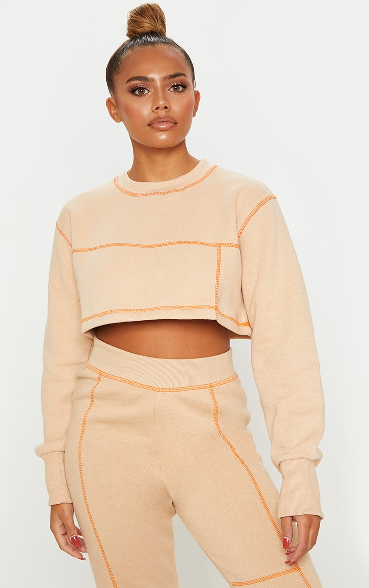 NUDE CONTRAST STITCH CROP SWEATER